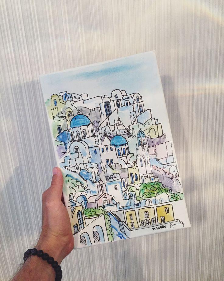 Painting Akvarelle Watercolor Santorini