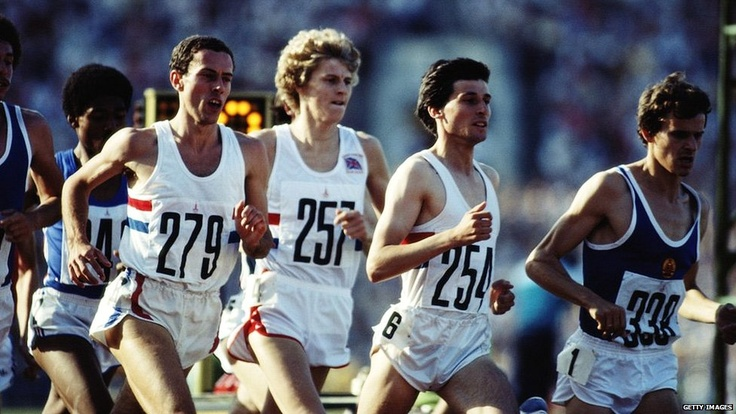 British Olympic Runners - Steve Cram (middle), Seb Coe (right) and (to a lesser extent) Steve Ovett (left) showed big hair was the order of the day at Moscow 1980, while the simple red, white and blue hoops remained.