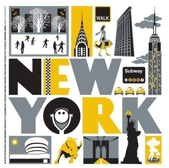 A retro style digital print celebrating New York by Susan Taylor.