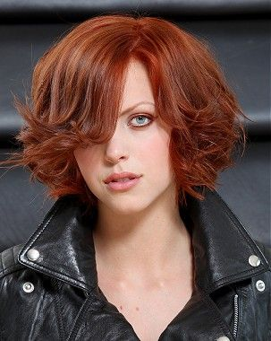 A Medium Red Straight Coloured Hairstyle By Guys Amp Dolls