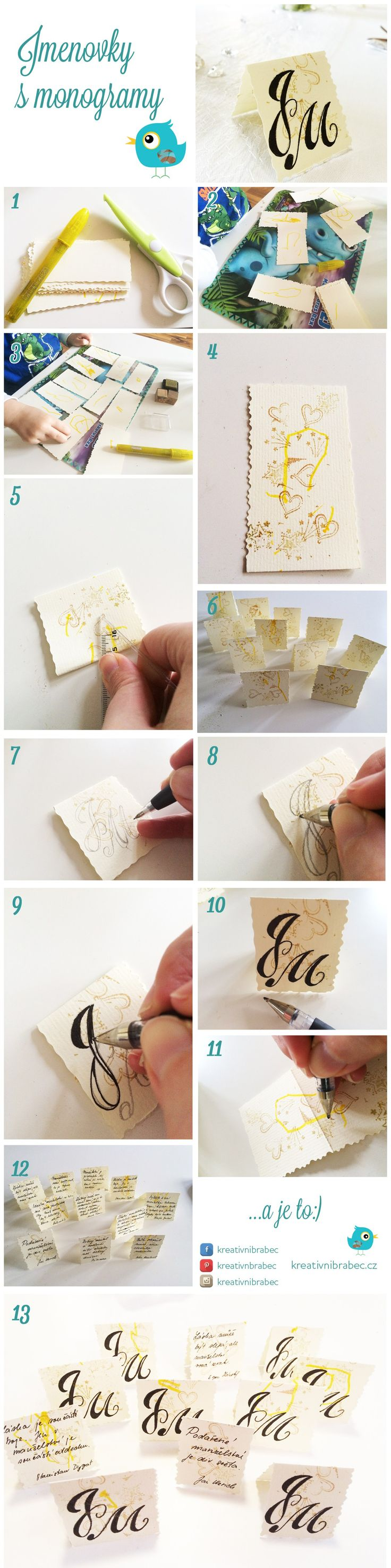 Jednoduchý návod ke kartičkám s monogramem a citáty