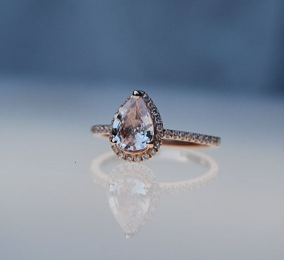 Halo Engagement Ring 2.17ct Pear shape Peach champagne sapphire 14k rose gold diamond setting #eidelprecious