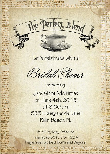 The Perfect Blend Coffee Bridal Shower Invitaiton $1.95