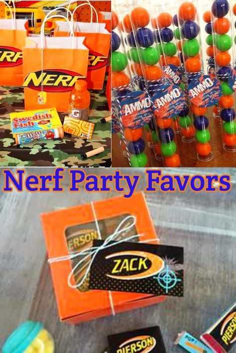 Nerf Birthday Party Ideas! Nerf gun birthday party favor ideas! Get goodie bag ideas and awesome favor ideas right here! Nerf guns make for a fun boys or girls birthday party - kids will love these favors.