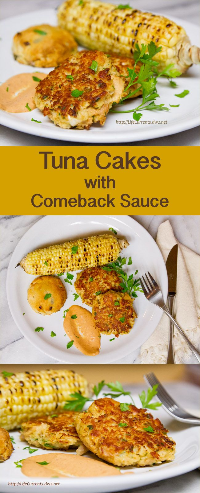 Island Trollers Tuna Cakes with Comeback Sauce, Corn on the Cob, and Biscuits