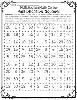 Multiplication {Squares Game} Math Center FREEBIE!