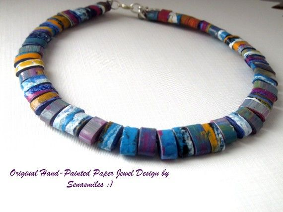 Paper Bead Jewelry Necklace Tribal Hand Painted by PaperMeJewels
