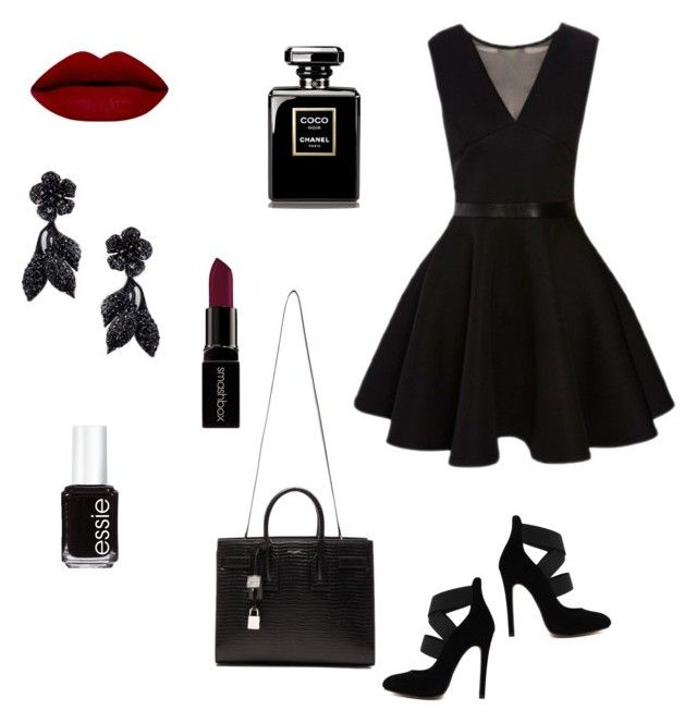 """""""Black"""" by lien-nguyenova on Polyvore featuring Essie, Smashbox, Valentino, Yves Saint Laurent, women's clothing, women's fashion, women, female, woman and misses"""