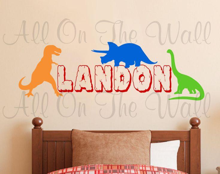 Dinosaur Wall Decal Boy Name Nursery Bedroom Decor Sticker Part 44