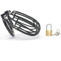 "Black Metal Male Chastity Kit (2"" Ring)"