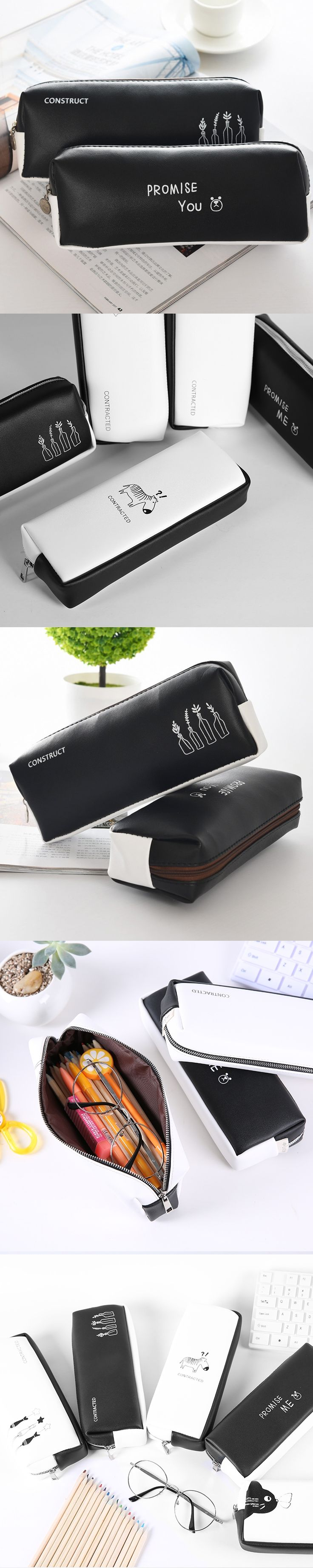 Cute Kawaii Pencil Case School Pencil Bag Korean Stationery PU Leather Pen Bags Box for Boys Girls