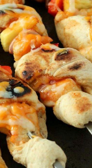 BBQ Chicken Pizza Kebabs