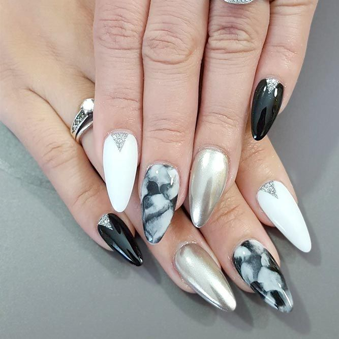 Hot Almond Shaped Nails Colors to Get You Inspired to Try ❤️ Classic Black Nails picture 3 ❤️ Do you have almond shaped nails? If not, you should try this nail shape right now. And then embellish it with one of these trendy colors https://naildesignsjournal.com/almond-shaped-nails-colors/#nails#nailart#naildesign#almondnails