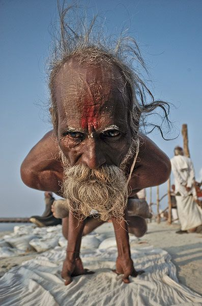 A Hindu devotee at the Maha Kumbh Mela, Allahabad, India
