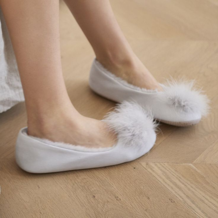 Feather Pom Pom Ballet Slippers | Slippers | Clothing | The White Company US
