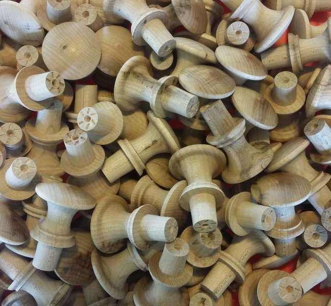 """6 ~ 1 1/4"""" WOOD SHAKER KNOBS *NEW* Unfinished Wooden Drawer pulls Handles Birch #Unbranded"""