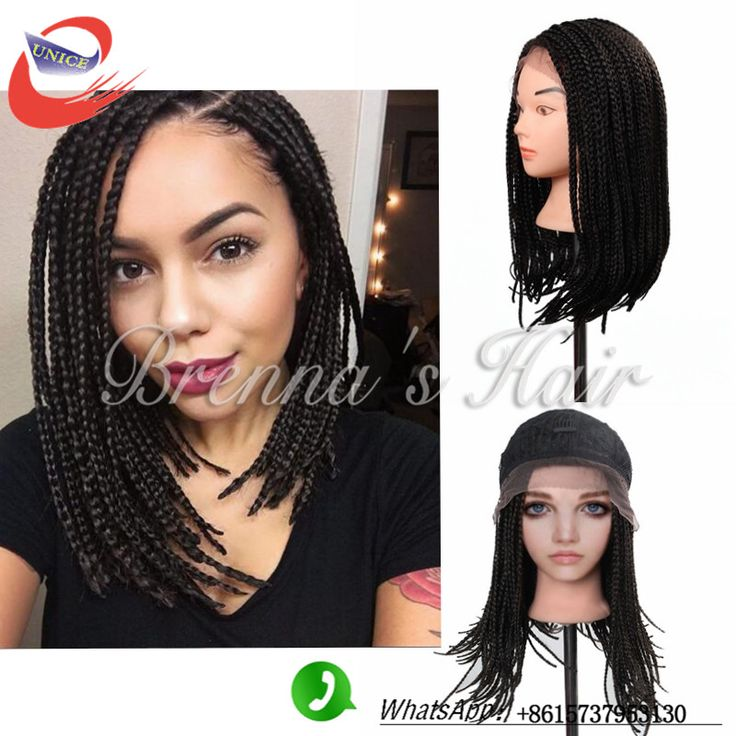 New style braid wigs for women 3X Senegalese braid wig 14 inch short black Synthetic lace front  women wig Black wigs for black