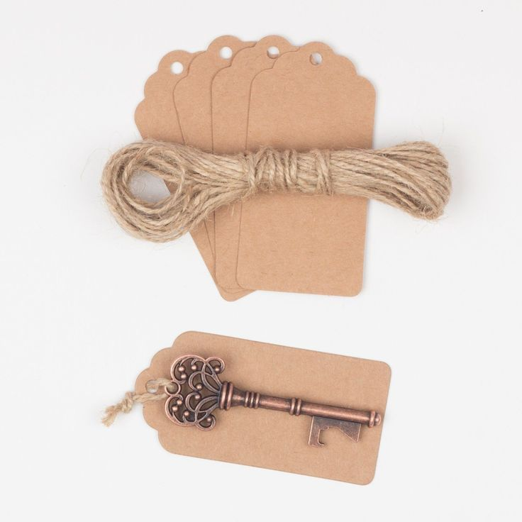 Ella Celebration - 50 Key Bottle Openers with Tags & Twine - Antique Copper Vintage Skeleton Keys - 2