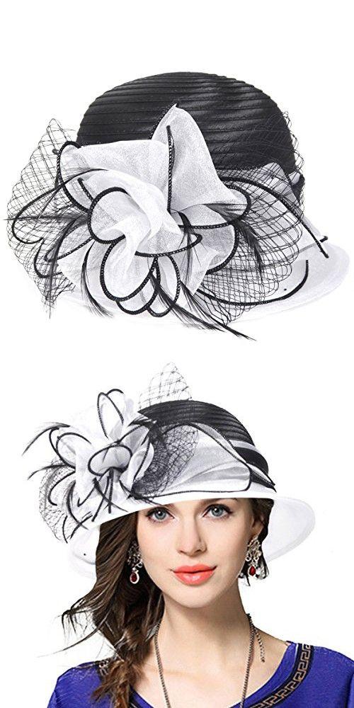 91ee6ab6d4d Kentucky Derby Dress Church Cloche Hat Sweet Cute Floral Bucket Hat (White)