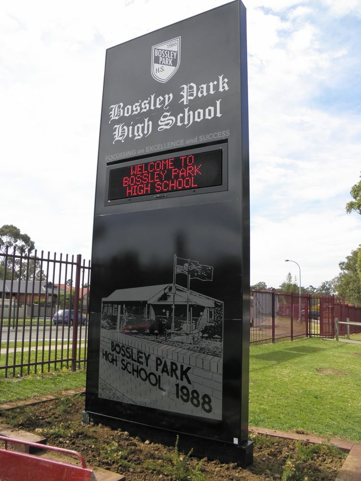 Bossily Park High School #CSI #CorporateSignIndustries #200 #series #custom #Design #signage #LED school #recognition #identity #sign