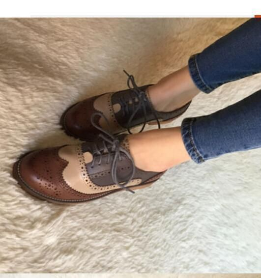 Retro Womens Casual Flats Low Heels Brogue Wingtip Lace Up Dress Shoes Size