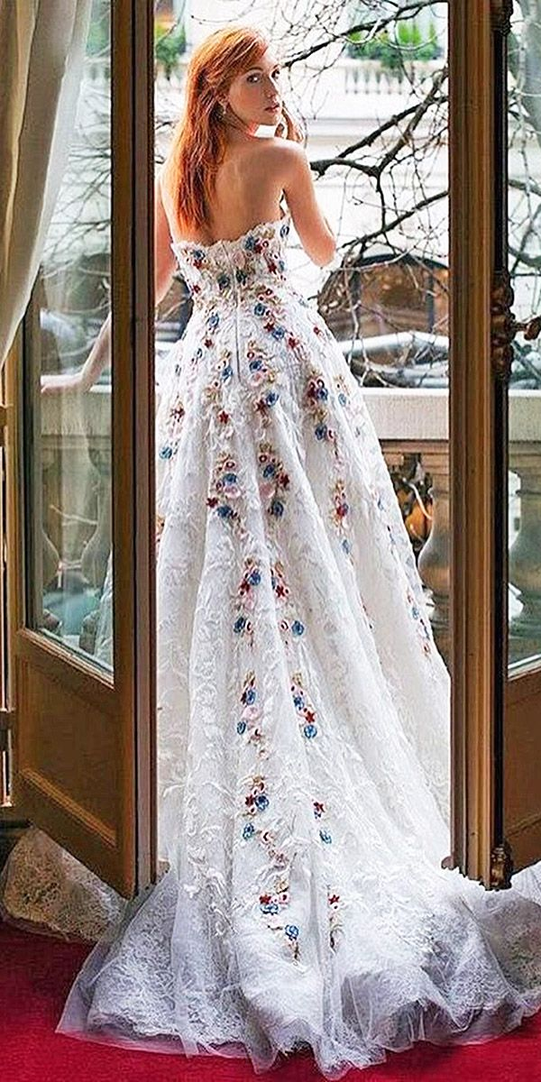 30 Floral Wedding Dresses That Are Incredibly Pretty ❤  floral wedding dresses back lace embellishment tony ward couture ❤ See more: http://www.weddingforward.com/floral-wedding-dresses/ #wedding #bride