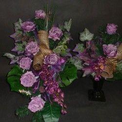 Kompozycje na pomnik fioletowa peonia