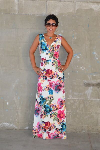 DIY Watercolor Maxi Dress-would want another pattern though...maybe a vertical wide strip or ikat?