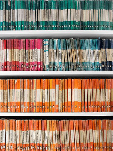 Arranged by spine color, vintage Penguin paperbacks add a graphic punch to shelves.