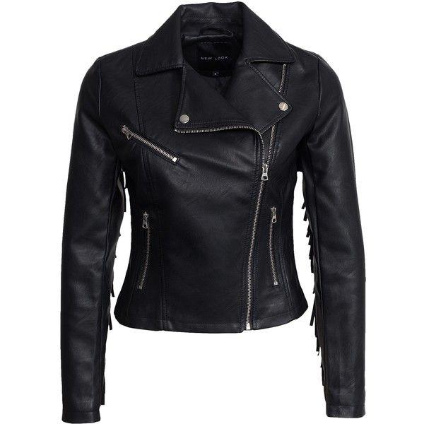 New Look Pu Tassle Biker Jacket found on Polyvore featuring outerwear, jackets, leather jacket, black, womens-fashion, tall jackets, black jacket, biker jacket, black moto jacket and zipper jacket