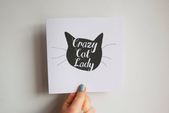 Crazy Cat Lady Card  Hand Drawn Type by StacieSwift on Etsy, £2.75