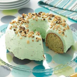 """Taste of Home: Pistachio Cake. """"This recipe's been under lock and key for years in our family. Everyone who's ever tried this moist, one-of-a-kind cake can't believe it's a mix."""" It's perfect for St. Patrick's Day…and you won't need the luck of the Irish to whip it up! —Suzanne Winkhart, Bolivar, Ohio  ***Use pistachios instead of walnuts!!!***"""