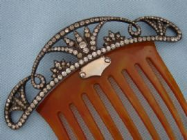 Stunning Silver, Paste and Horn Hair Comb - Early 20th Century