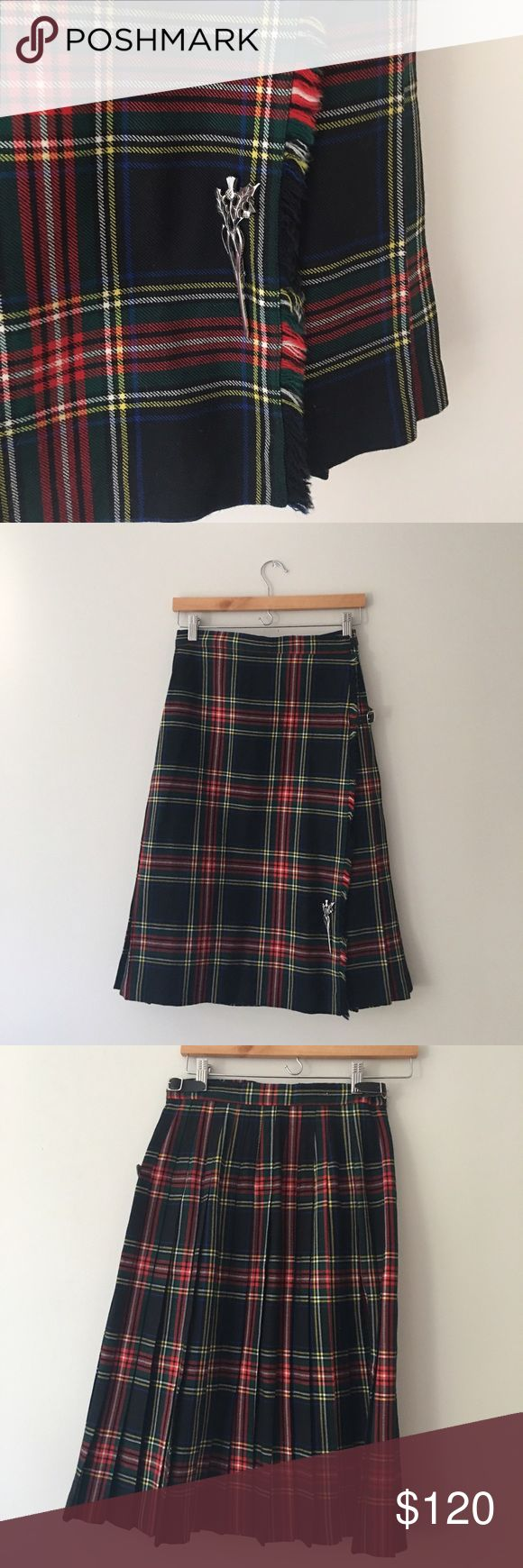 Brooks Brothers Black Stewart Tartan Skirt Stunning 100% wool Black Stewart tartan plaid skirt by Brooks Brothers. Kilt style front with buckle straps and a gorgeous silver tone pin for closure. Pleated back with rear elastic waist for give. Made in Scotland. Size 10. NWOT. Brooks Brothers Skirts