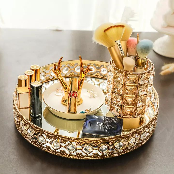 Us 6 23 36 Off Crystal Lipstick Holder Makeup Organizer Necklace Dressing Table Makeup Brush Jewelry Pearl Makeup Organization Crystal Makeup Bling Makeup