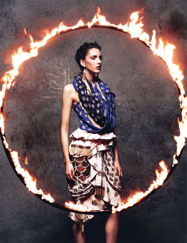 Fire performer portrait inspiration (Eclectic Circus Performer Portriats - The Cirque du Style Grazia UK Editorial is Pattern Enriched (GALLERY))