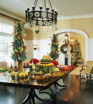 Christmas Buffet On Dining Table No Chairs And Great Decor Detail Small Trees In Room More