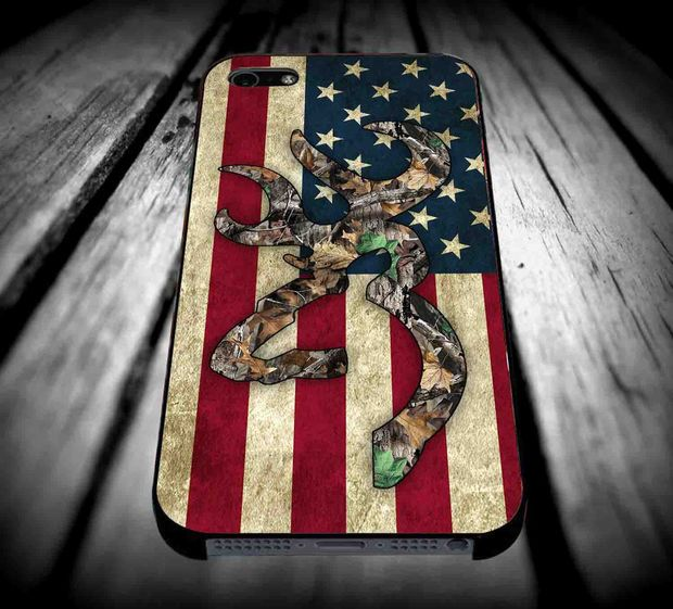 Browning Deer Camo American Flag Design for iPhone 4/4s/5/5s/5c/6/6 Plus Case, Samsung Galaxy S3/S4/S5/Note 3/4 Case, iPod 4/5 Case, HtC One M7 M8 and Nexus Case ***