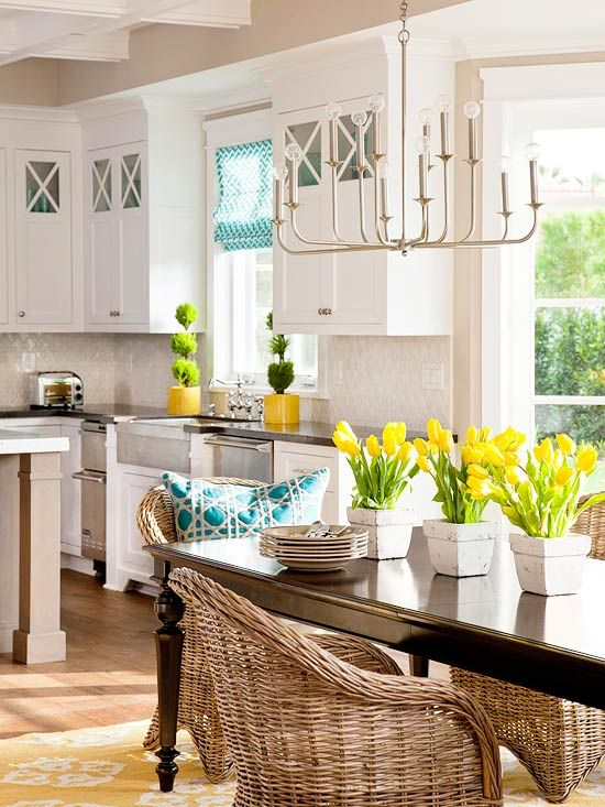 White & Bright Kitchen - love the yellow and blue accentsBright Kitchens, Ideas, Kitchens Design, Lights Fixtures, Colors, Happy Happy Happy, White Cabinets, Wicker Chairs, White Kitchens