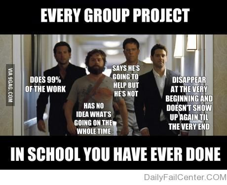 Group Projects = The Hangover. Cool. I'm Bradley Cooper. -E