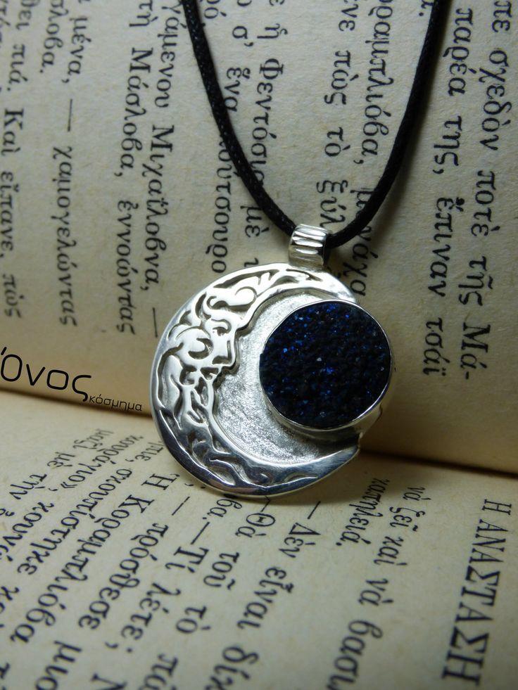 """""""Druzy Blue Moon """" - Χειροποίητο επάργυρο μενταγιόν με druzy Ορυκτό Αχάτη!"""