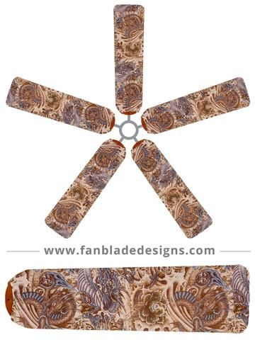 Add some Asian flair to any room with a ceiling fan with our Blue Hidden Dragon fan blade covers. Elegantly subtle, they're a practical and cool solution to a dirty ceiling fan. Constructed from a quality, lightweight blend of polyester-spandex. Machine washable. Dye-sublimated so colors do not fade in the wash. Sold as a set