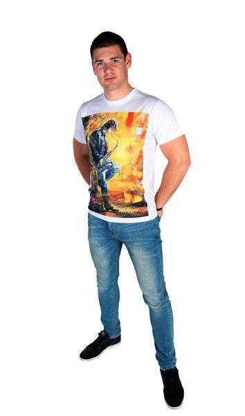 Artystyczny T-shirt męski - Saxophonist - ArtEgo - Koszulki z nadrukiem