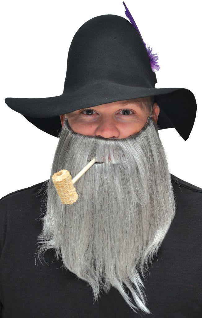 costume accessory: full beard and mustache   grey