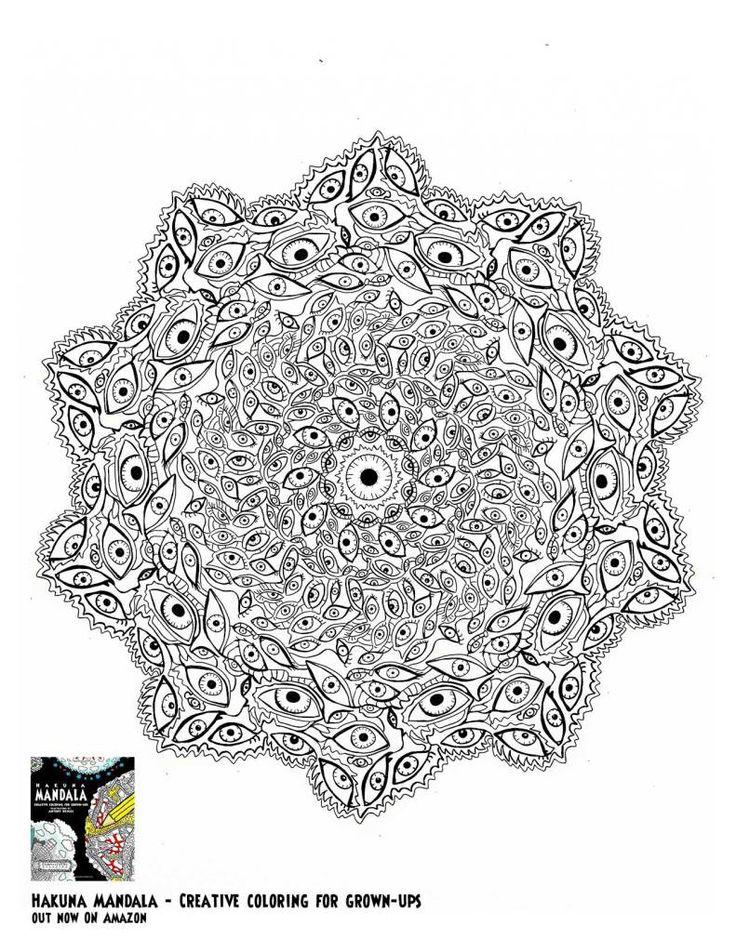 Eyes Mandala Мандала coloring for adults colouring kleuren