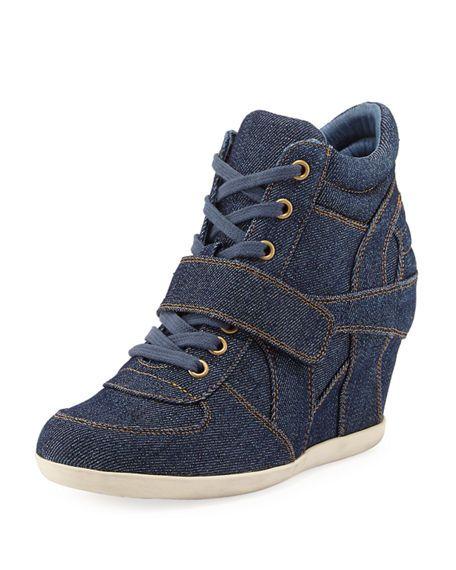 ASH Bowie Denim Wedge Sneaker. #ash #shoes #