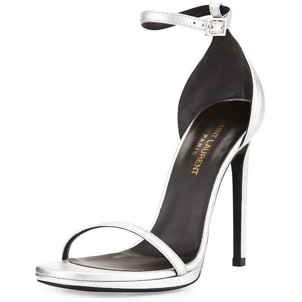 Saint Laurent Metallic Ankle-Wrap Sandal ($600) ❤ liked on Polyvore featuring shoes, sandals, heels, platine, heeled sandals, ankle strap shoes, open toe sandals, leather high heel sandals and metallic leather sandals