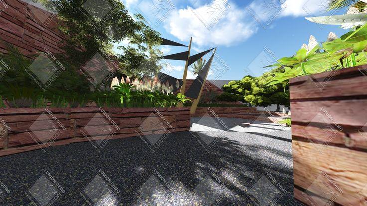 Lugar de reunión semienterrada en patio de 150 metros cuadrados