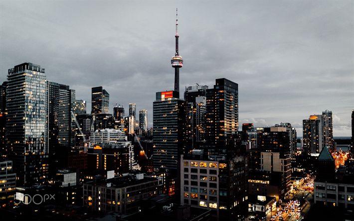 Télécharger fonds d'écran Toronto, la Tour CN, métropole, gratte-ciel, le soir, les lumières de la ville, Canada