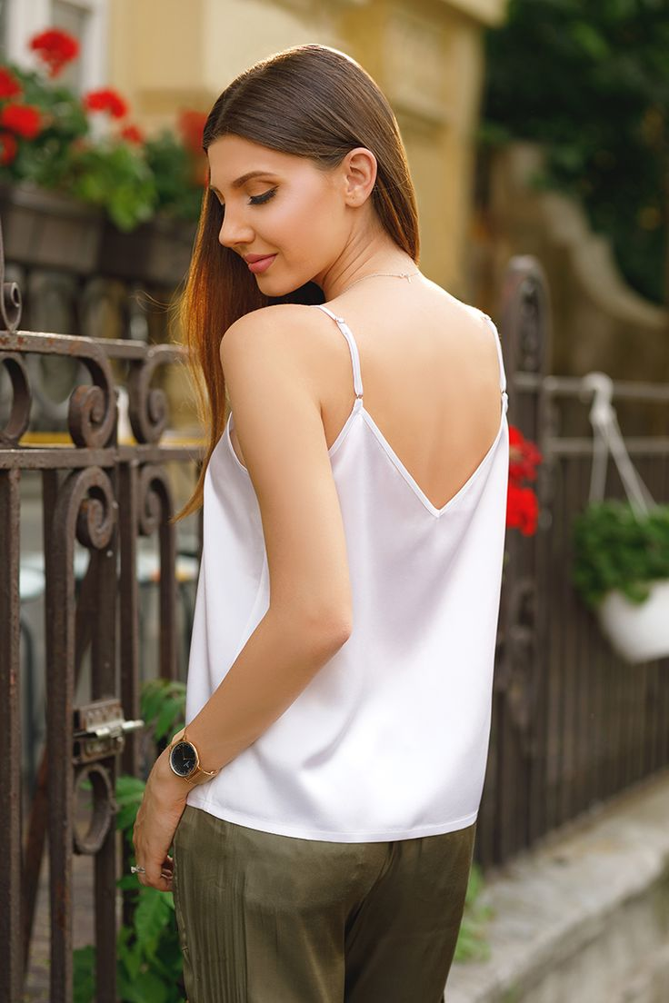 A cool chic outfit with army pants and white silk cami is now on my blog: http://larisacostea.com/2017/06/white-cami/